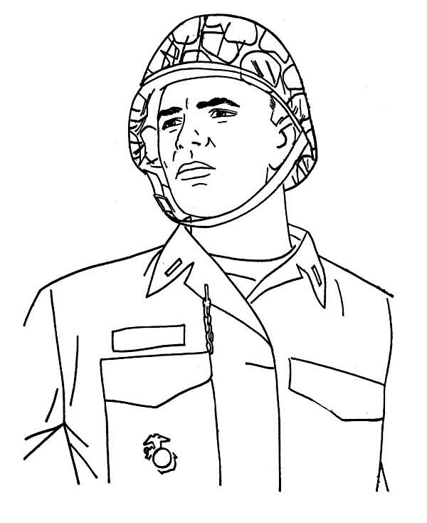 600x734 A Soldier Combat Helmet Veterans Day Coloring Page Just
