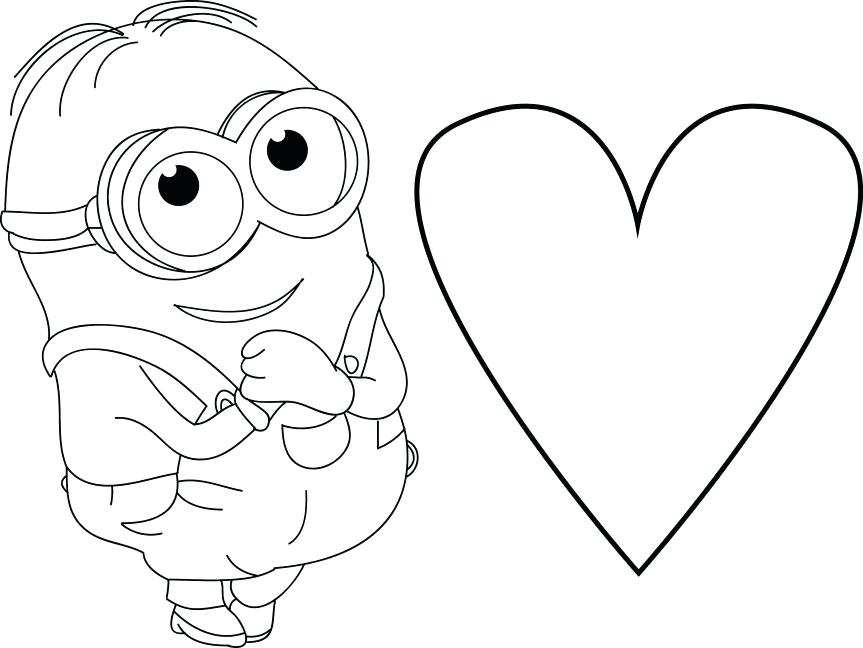 863x648 Minion Very Cute Heart Coloring Page Movie Pages To Print Free