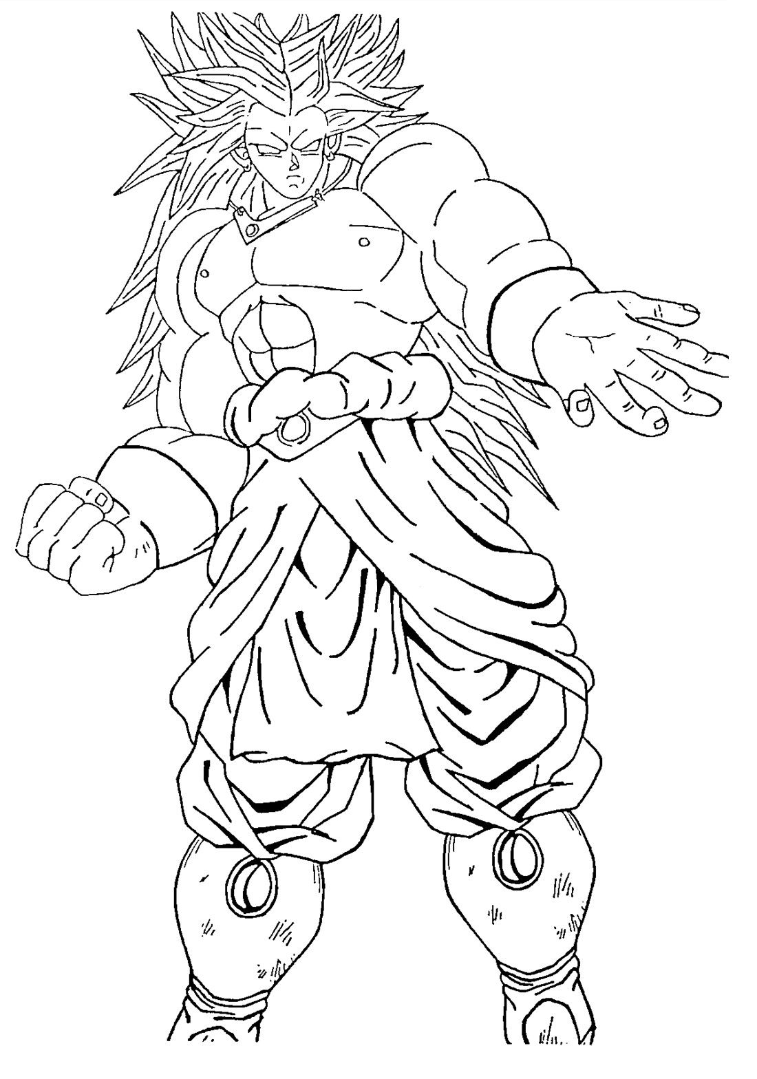 1100x1568 Broly Dragon Ball Goku And Striking Coloring Pages
