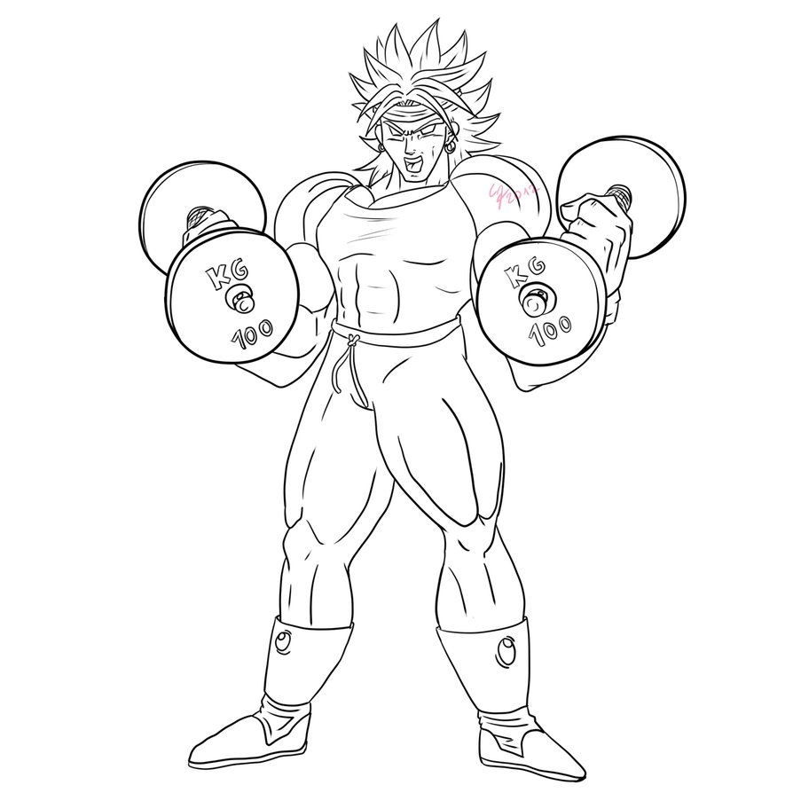 894x894 Broly Coloring Page