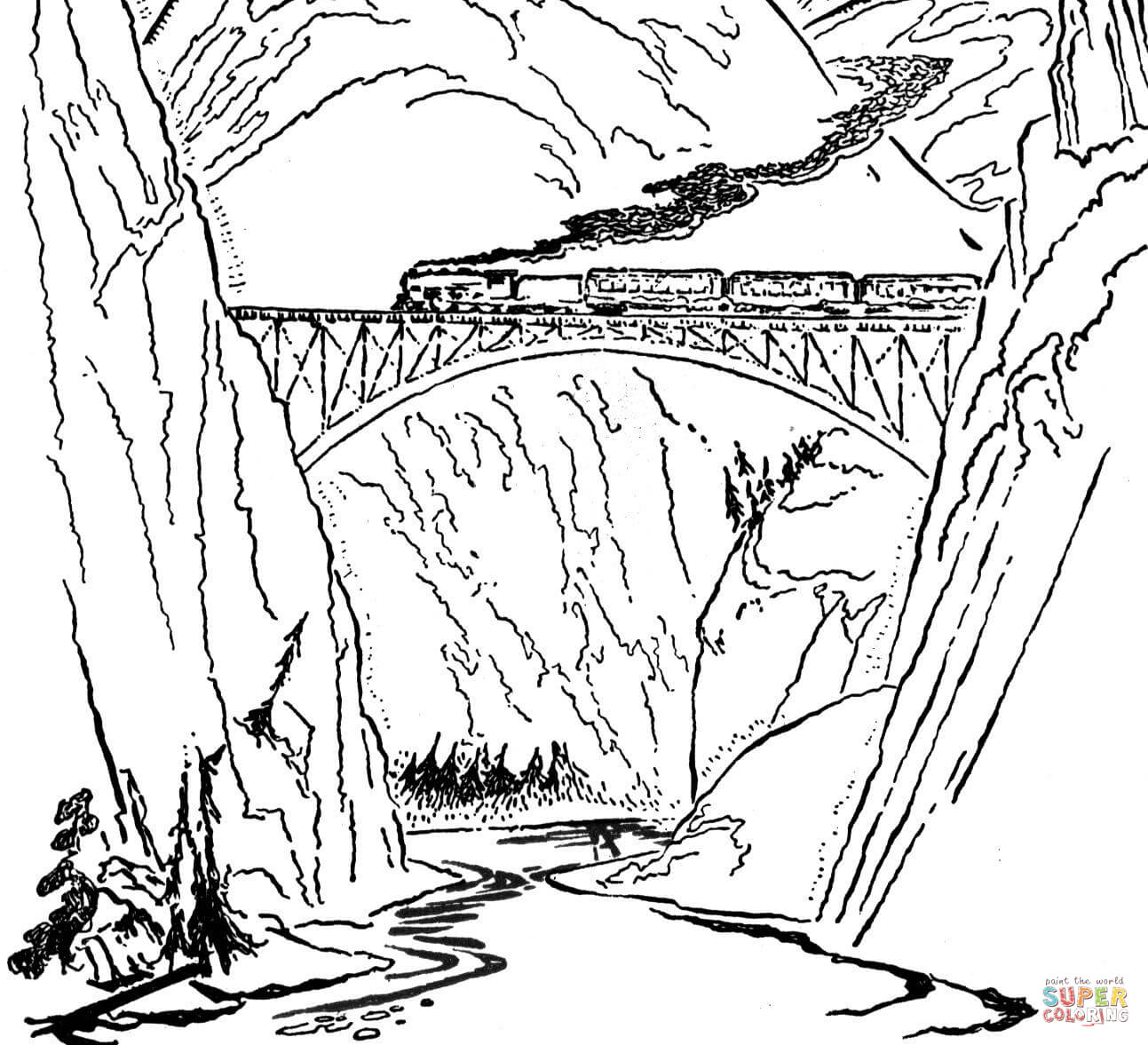 1293x1177 Train On The Bridge Coloring Page Free Printable Pages Throughout