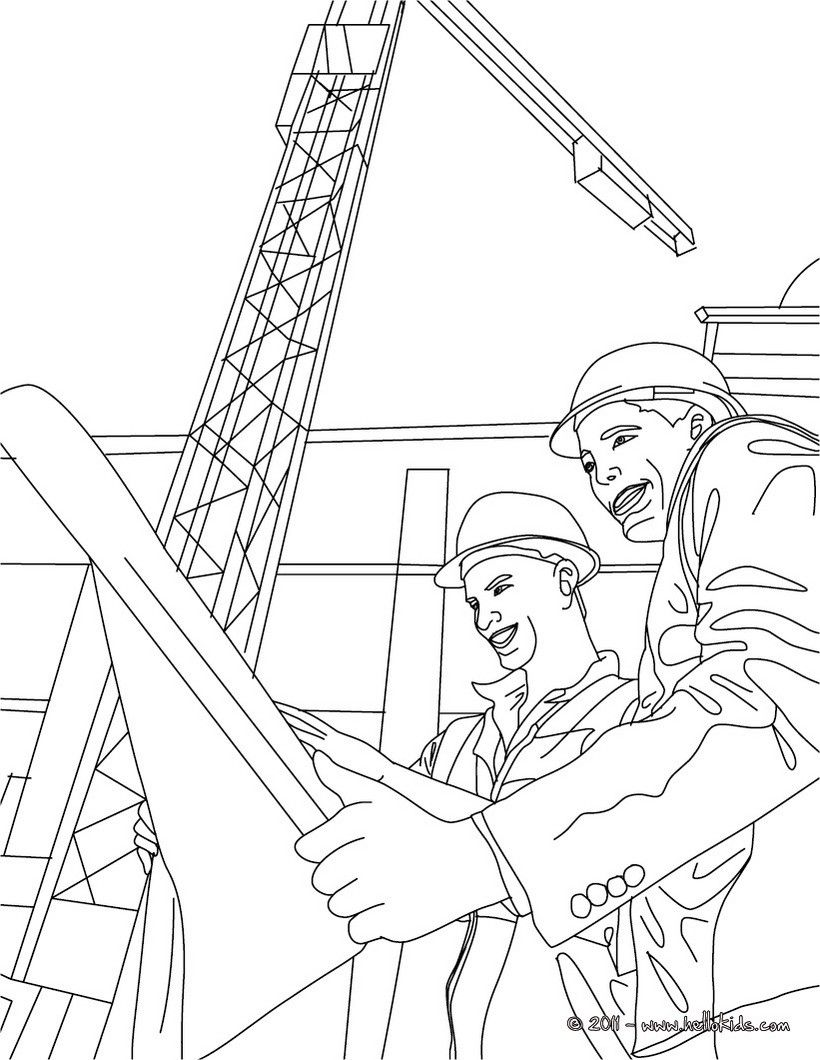 820x1060 Architect Reading A Plan With The Work Foreman Coloring Page