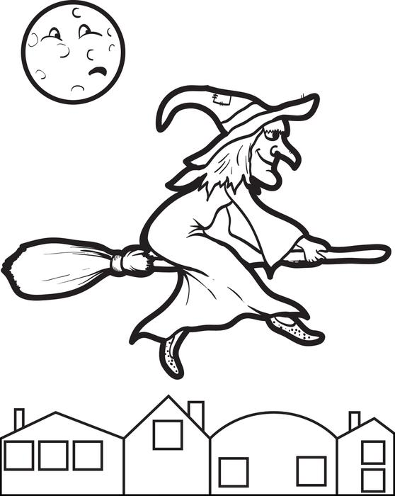 558x700 Halloween Flying On Broom Witch Coloring Pages
