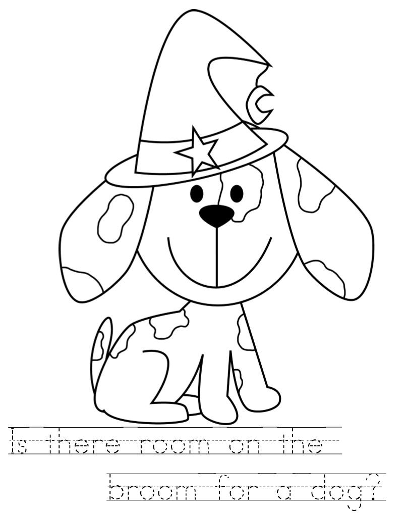 805x1016 Room On The Broom Color Pages With Handwriting Practice Kids