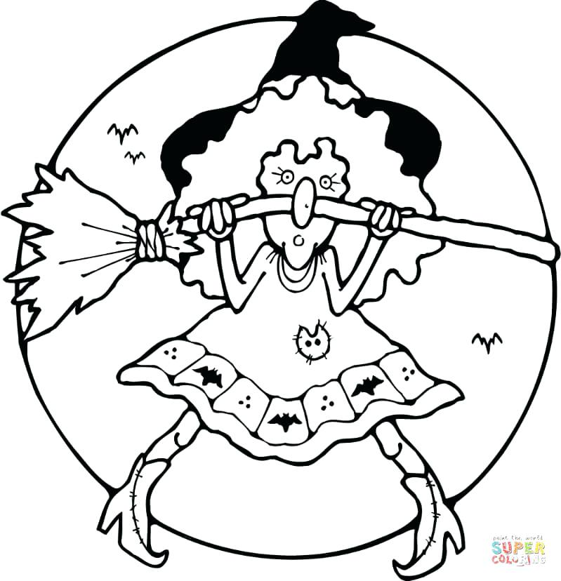 799x828 Scary Witch Coloring Page With Her Broom Pages Free Witches Hat