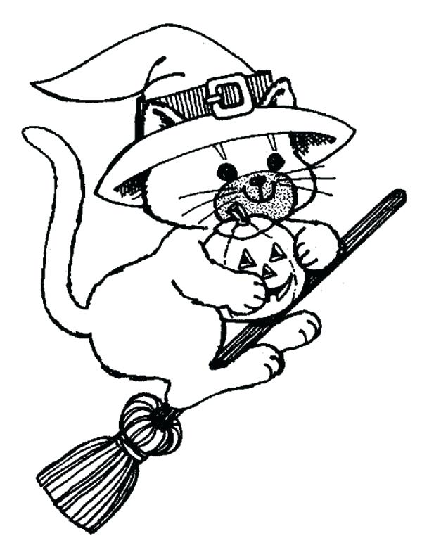 600x772 Witch Cat Riding Broomstick Coloring Page Witch Cat Riding Witch