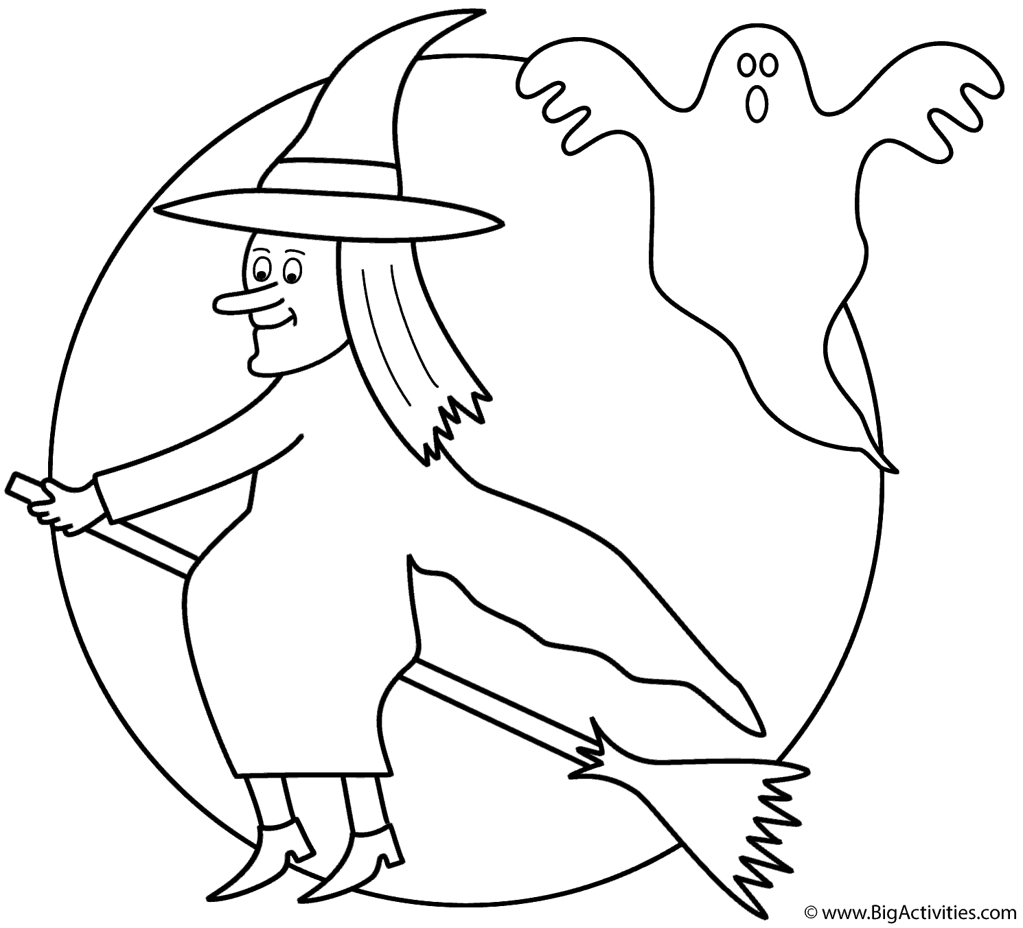 1490x1352 Witch On Broom With The Moon And Ghost