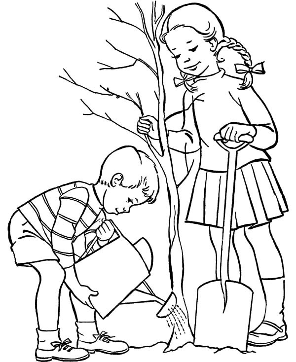 600x734 Brother And Sister Grow A Tree On Arbor Day Coloring Pages Best