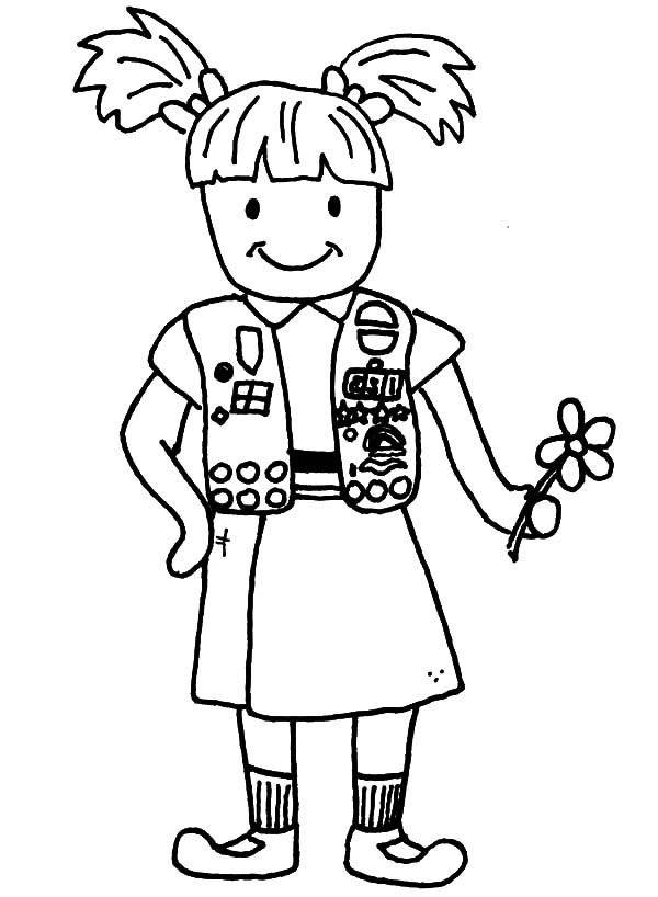 600x818 Brownie Scouting Girl Coloring Pages Best Place To Color