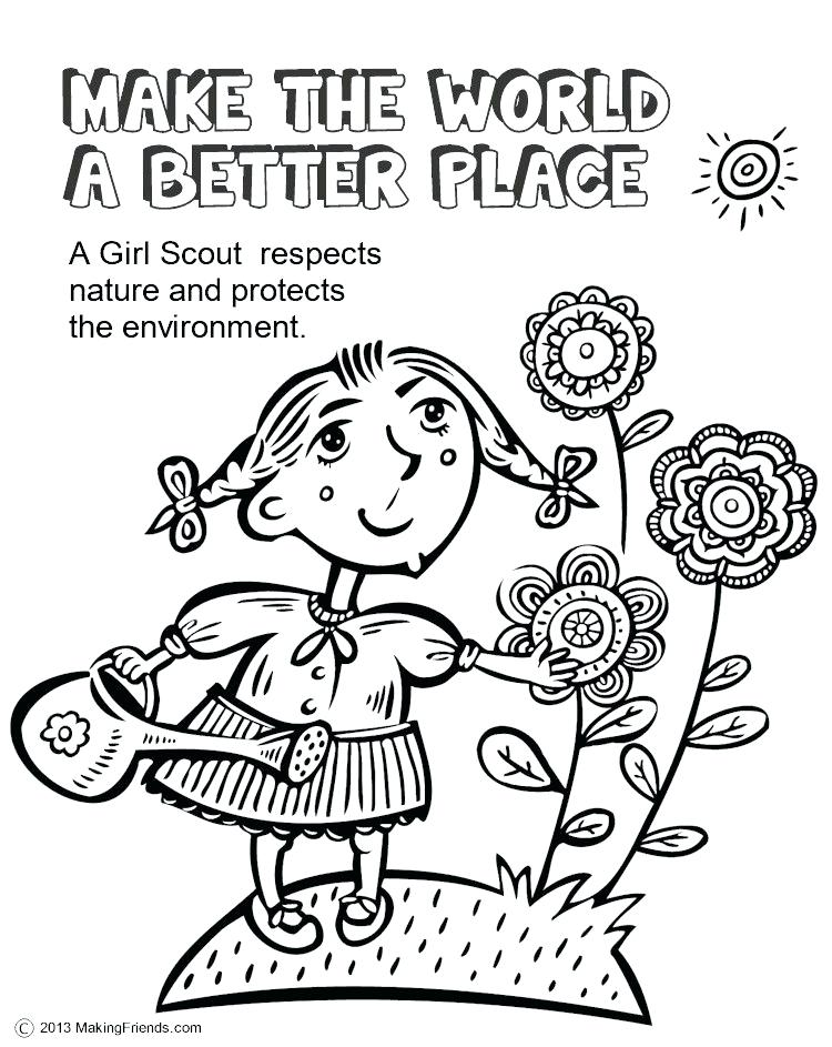 750x943 Printable Girl Scout Brownie Coloring Pages Girl Scouts Make
