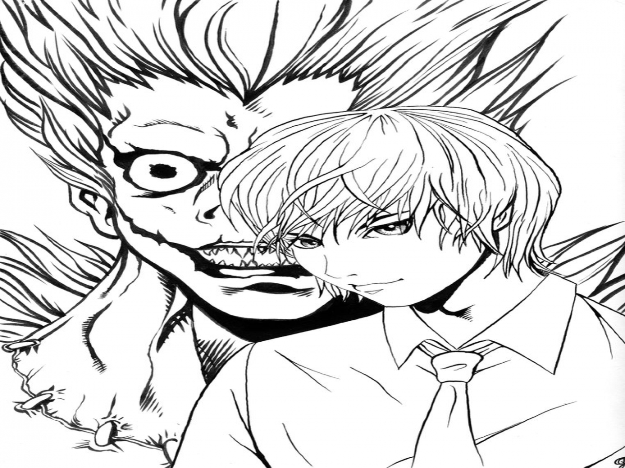 1280x960 L Death Note Coloring Page Images Of Light