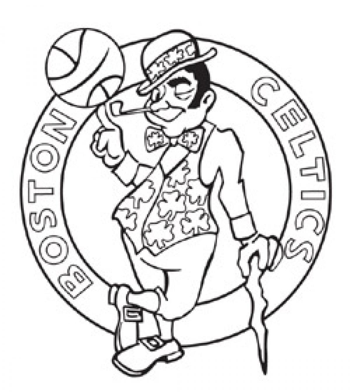 1200x1344 Fascinating Genuine Celtics Basketball Coloring Logo Bruins Page