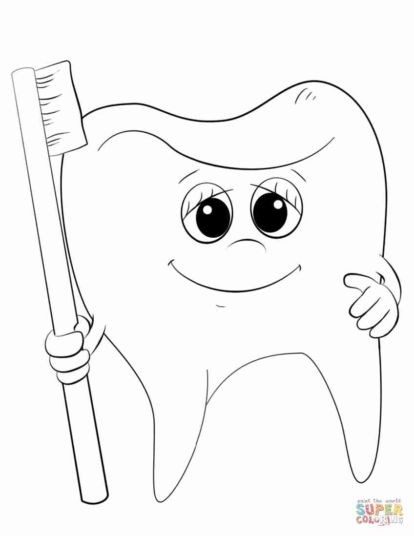 848x1098 Cartoon Tooth And Toothbrush Coloring Page Free Printable