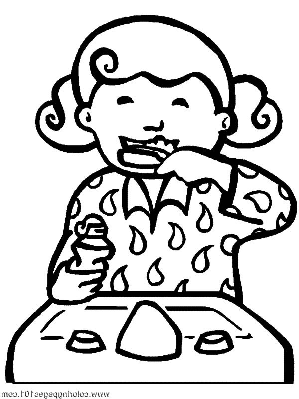Brushing Teeth Coloring Page