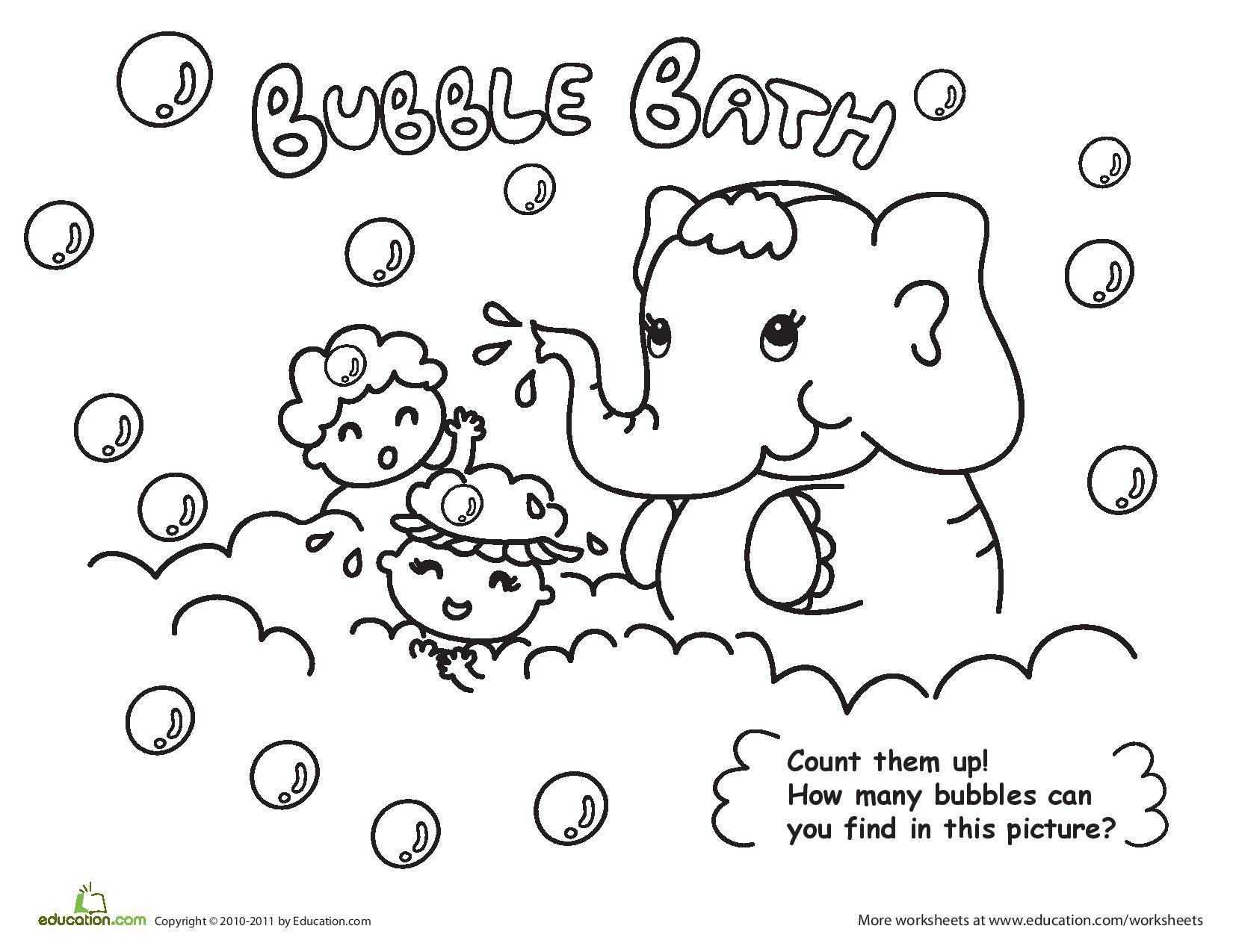 1650x1275 Bubble Bath Coloring Page