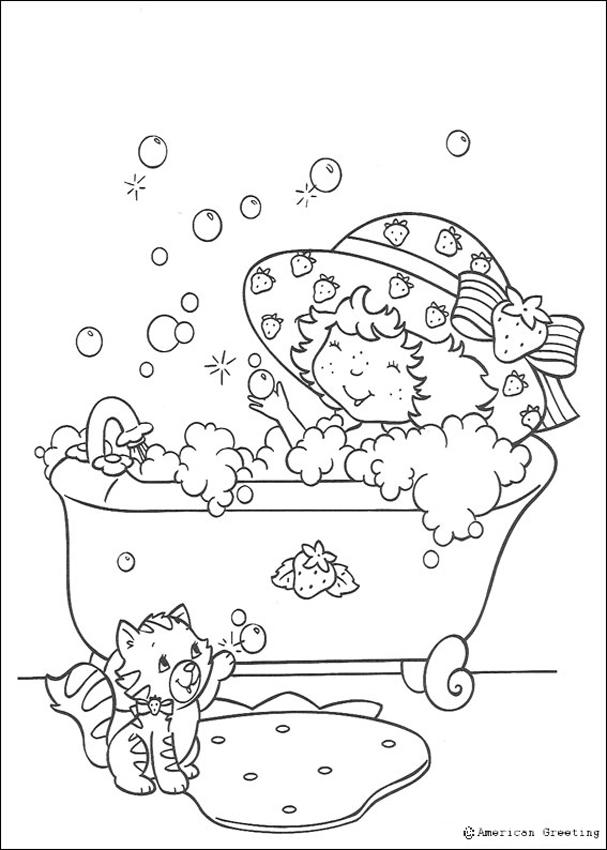 607x850 Strawberry Shortcake Having A Bubble Bath Coloring Pages