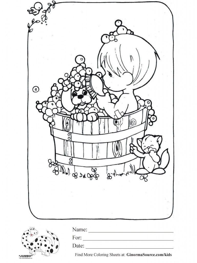 769x1024 Coloring Page Precious Moments Bubble Bath