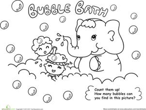 301x228 Bath Time! Color The Elephant Bubble Bath Worksheet