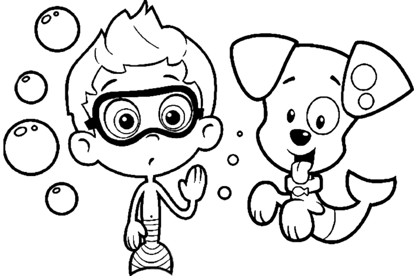 850x567 Bubbles Coloring Page Prepossessing Bubble Guppies Coloring Pages