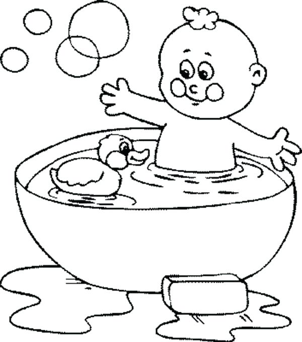 600x680 Bubbles Coloring Pages Bath With Rubber Duck And Bubbles Coloring