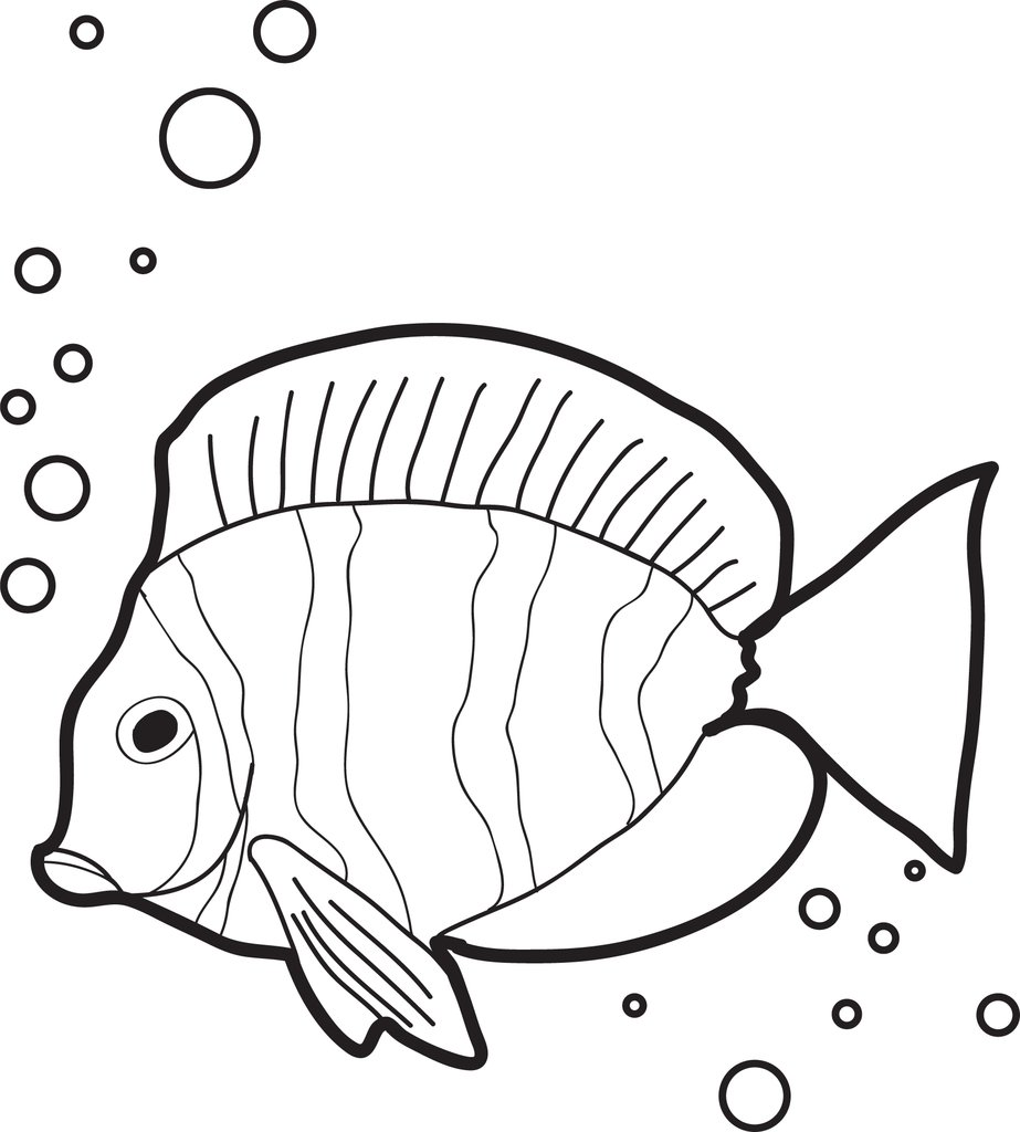 923x1024 Free, Printable Fish With Air Bubbles Coloring Page For Kids