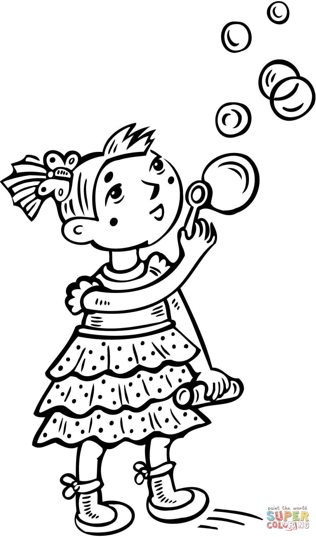 1076x1828 Little Girl Blowing Bubbles Coloring Page Free Printable Fair