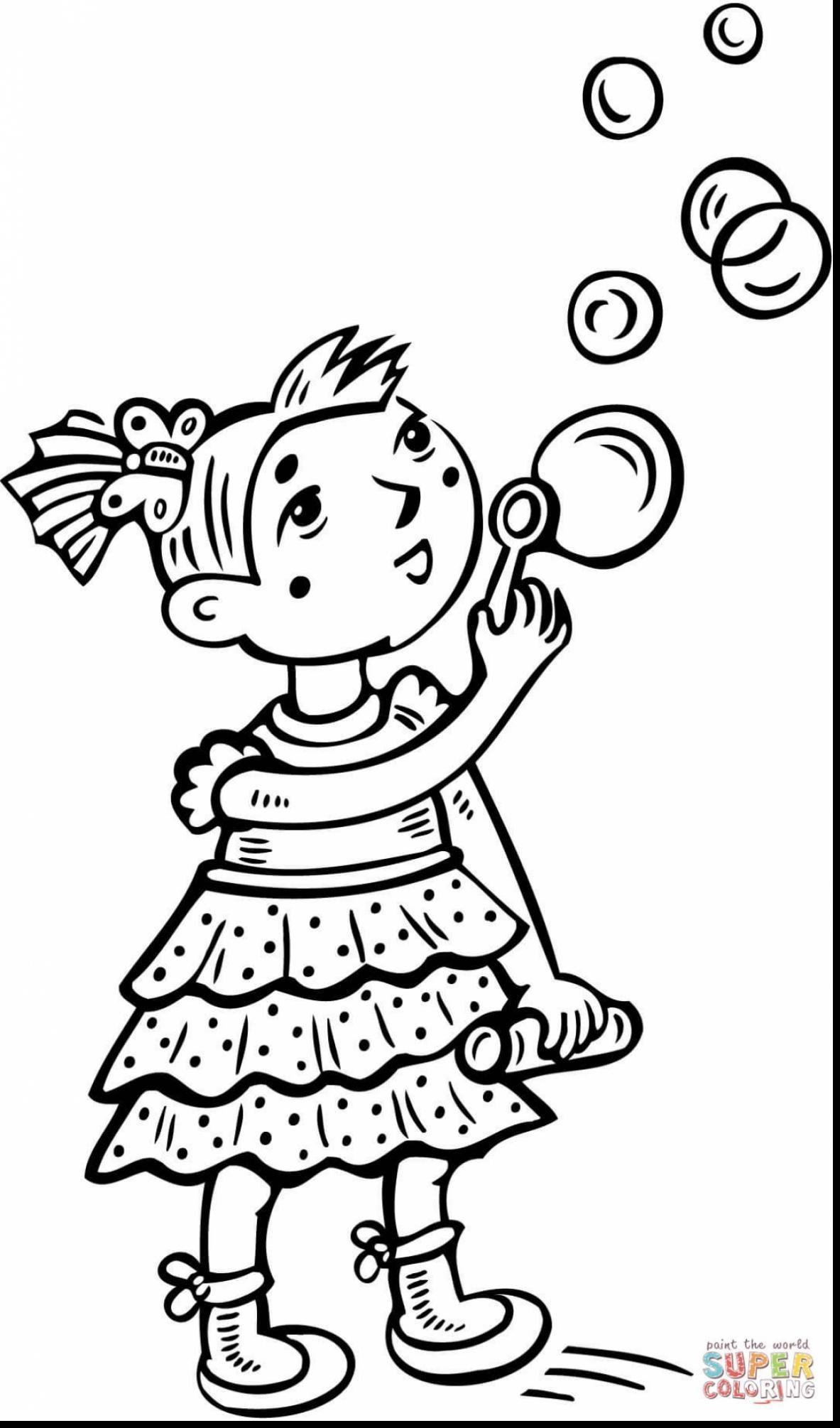 1183x2010 Printable Unbelievable Little Girl Blowing Bubbles Coloring Pages