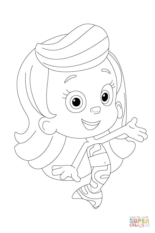 600x900 Molly Bubble Guppies Cartoon Coloring Page