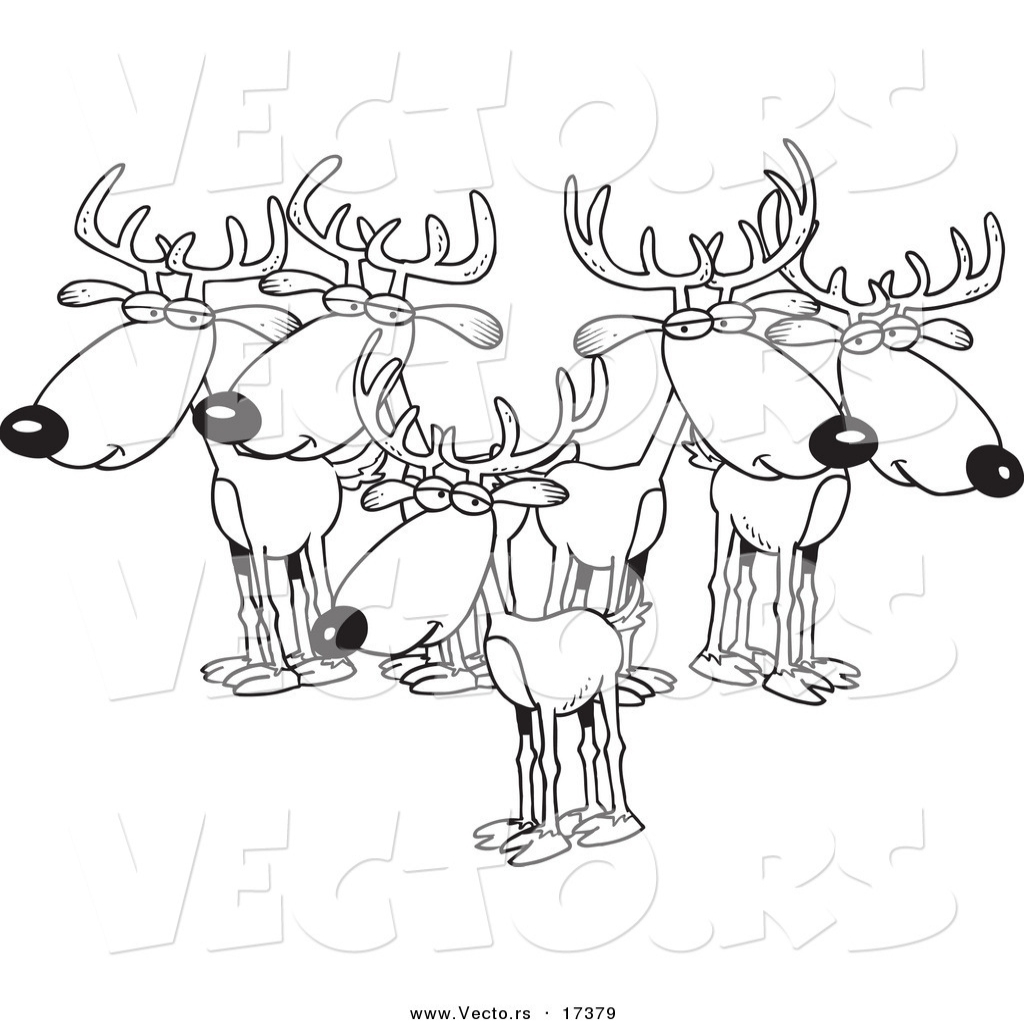 1024x1024 Vector Of A Cartoon Group Of Bucks Coloring Page Outline