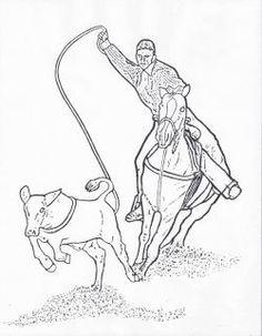 236x303 Cowboy On Bucking Bull Line Art Color Horsesrodeo!
