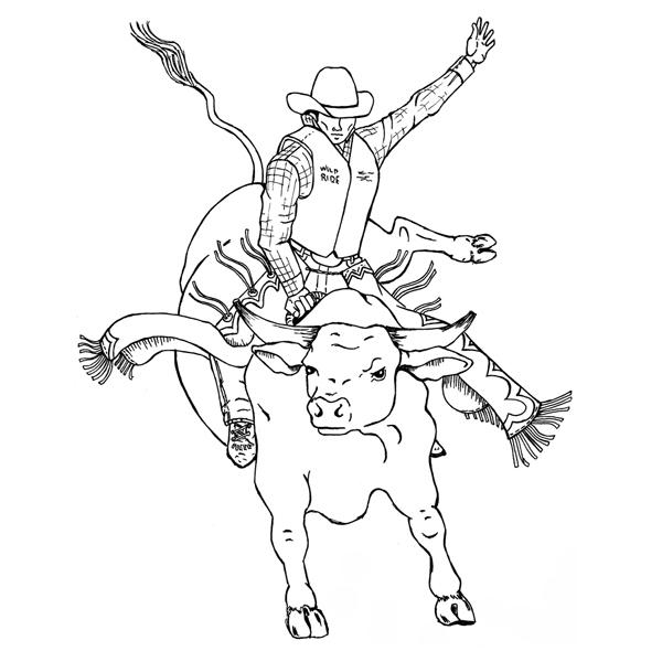 600x600 Bucking Bull Coloring Pages