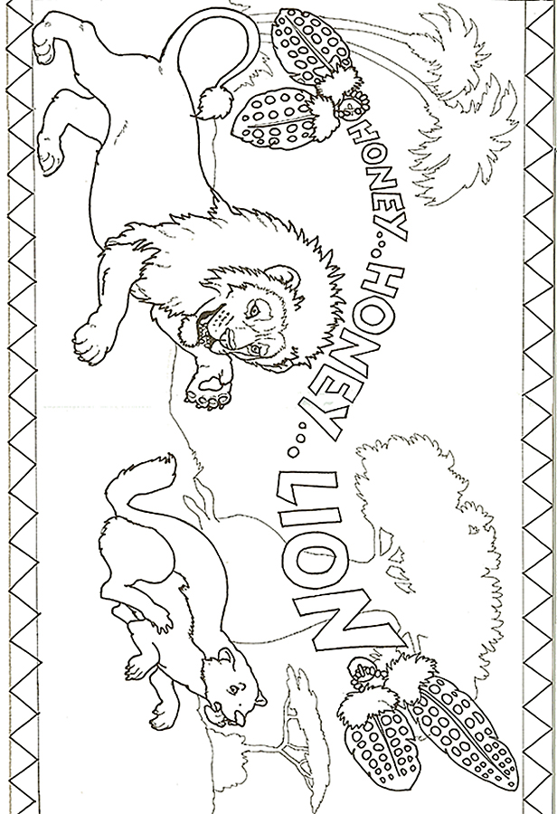 616x900 Honey Honey Lion Lion Chasing Badger Coloring Page