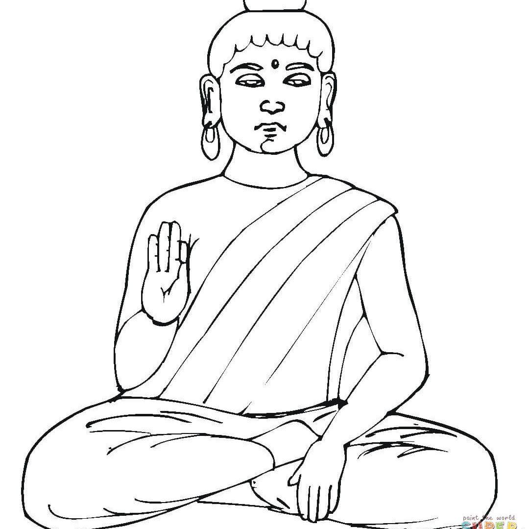 1080x1080 Buddhist Art Coloring Book Buddha Stencil Symbols For Kids Page