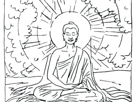 440x330 Buddha Coloring Page