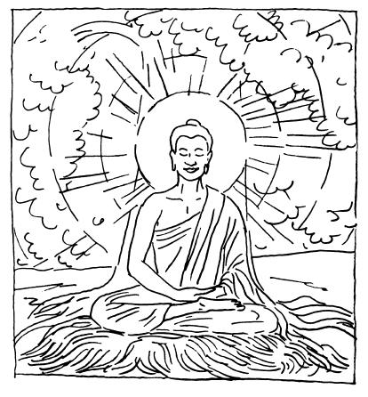 414x446 Buddha Coloring Pages
