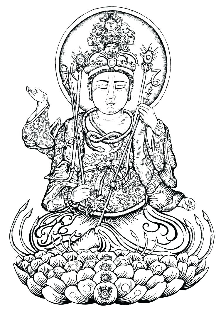 736x1064 Buddha Coloring Pages