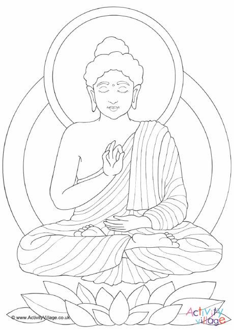 460x650 Buddha Colouring Page