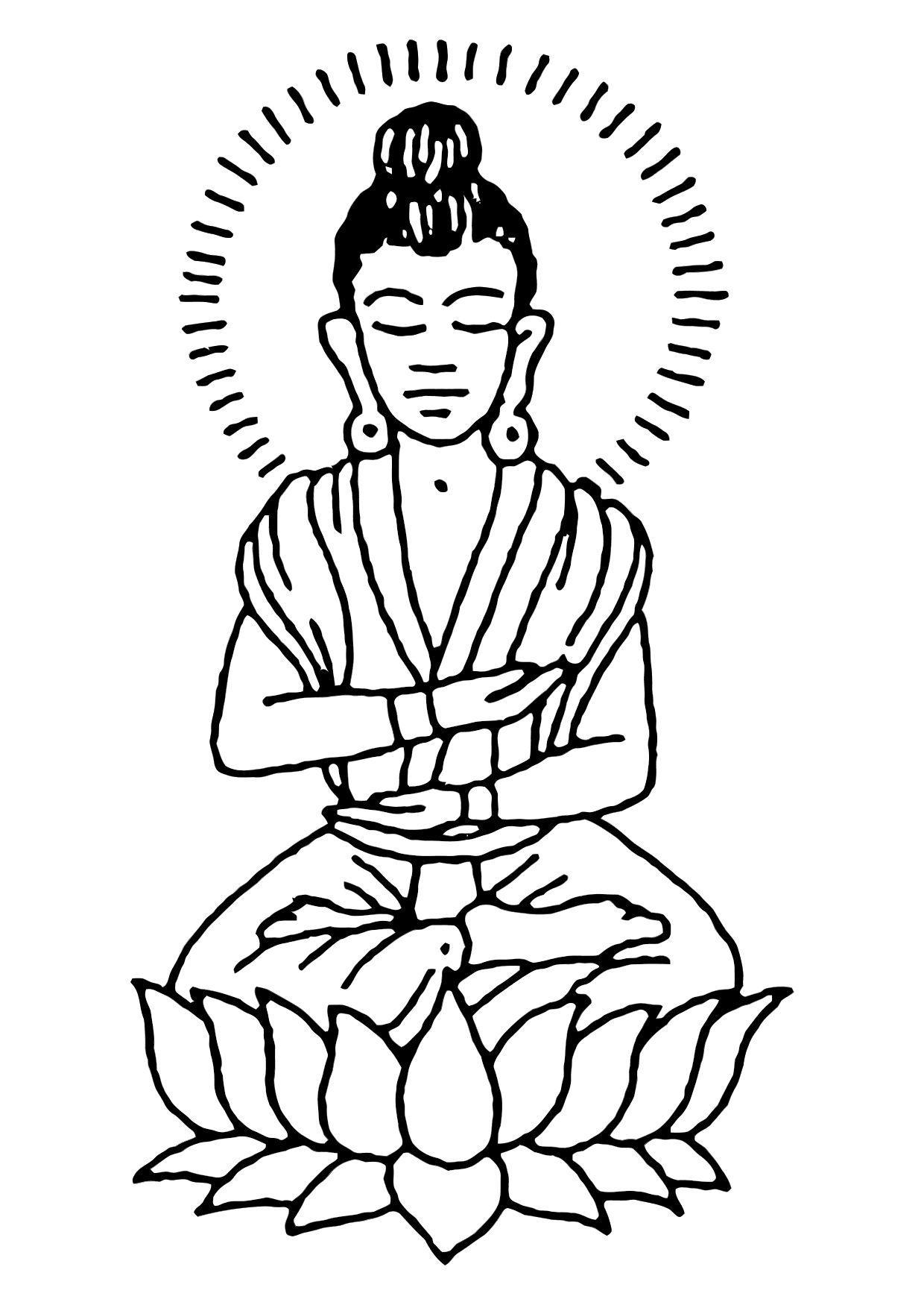 1240x1750 Coloring Page Buddha