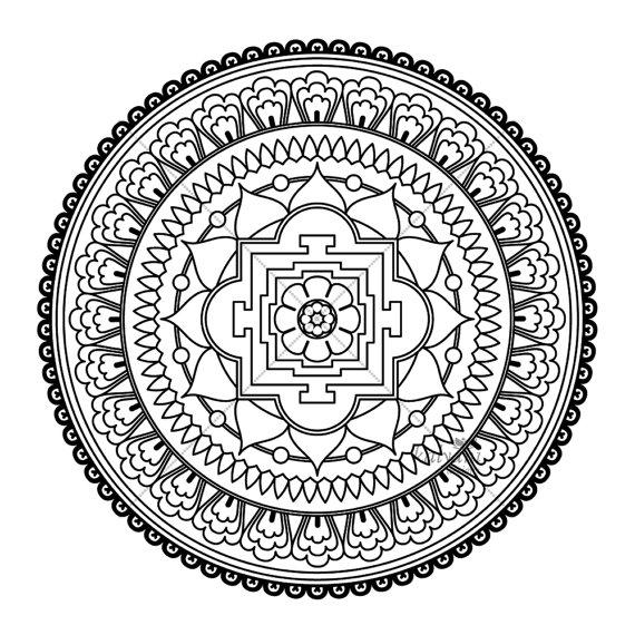 570x570 Five Mandala Colouring Pages Printable Digital Sheets Buddhist