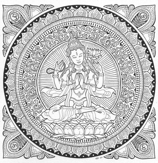 600x618 Buddhist Mandala Coloring Pages Buddhist Mandala Coloring Pages