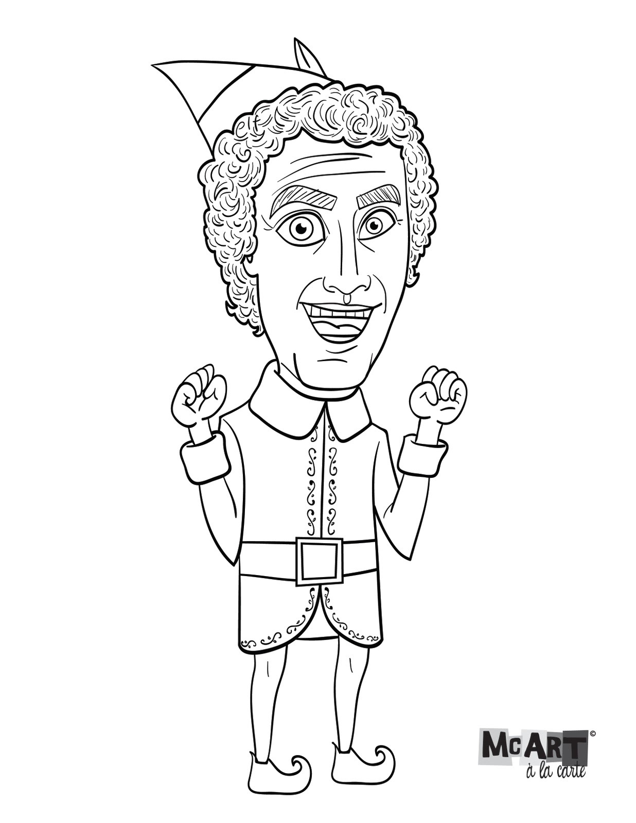 1236x1600 Mcart La Carte Buddy The Elf Coloring Page Coloring Pages Elf