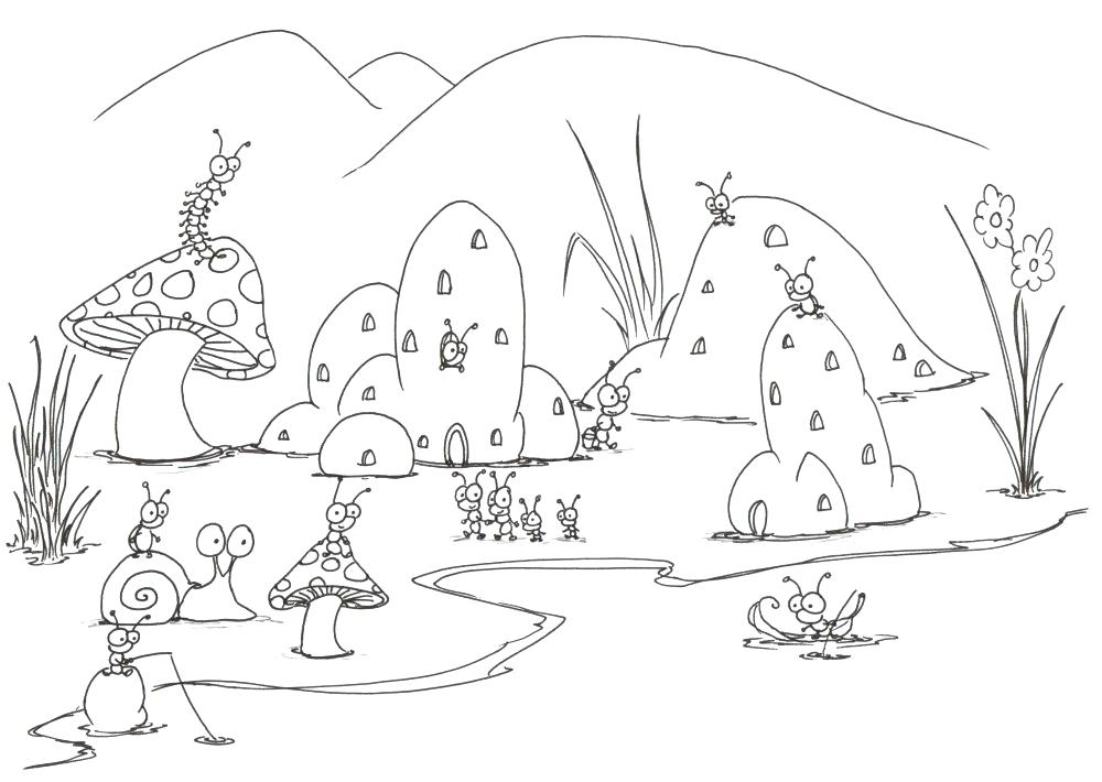 1000x710 Coloring Pages Of Bugs Coloring Pages A Small Bug Town Ladybug