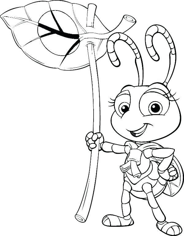 600x767 Bugs Life Coloring Pages Bugs Life Little Princess Holding Leaf