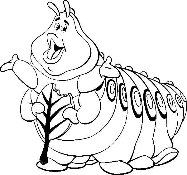 600x561 Heimlich Eating Delicious Leaf In Bugs Life Coloring Pages Batch