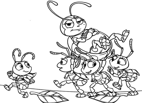 600x436 Little Ant Colony Lifting Francis In Bugs Life Coloring Pages