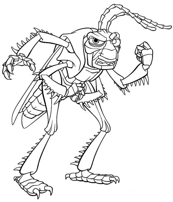 600x702 Vicious Grasshopper Boss In Bugs Life Coloring Pages Batch Coloring