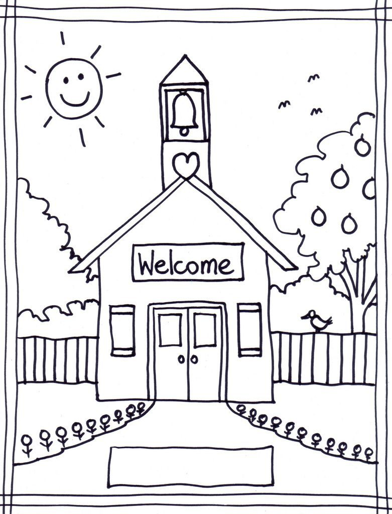 781x1024 Building Coloring Pages With School