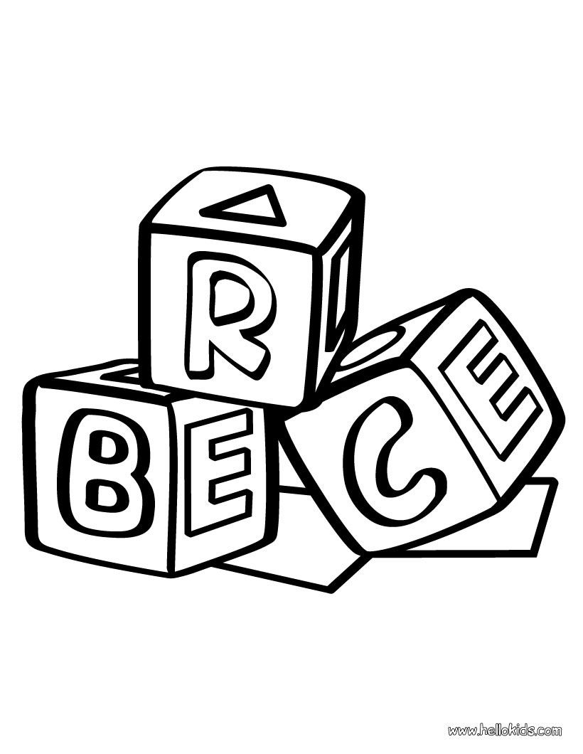 820x1060 Building Block Coloring Page Daycare