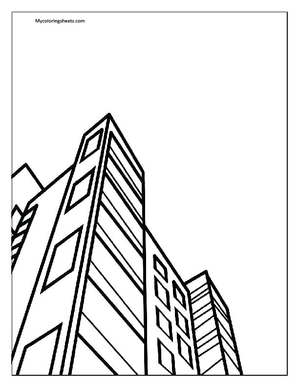 612x792 City Building Drawing At Free For Personal Use Top Building
