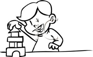 300x185 Coloring Page Of A Boy Playing With Building Blocks Clipart Picture